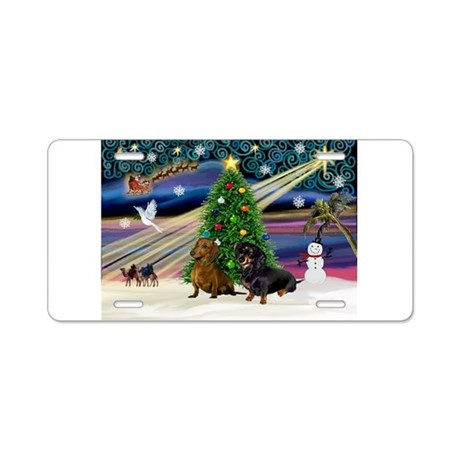 XmasMagic/2 Dachshunds (BB) Aluminum License Plate