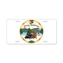 XmasMusic1/2 Dachshunds Aluminum License Plate