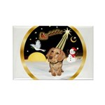 Night Flight/Dachshund #11 Rectangle Magnet (10 pa