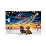 XmasSunrise/ 2 Dachshunds Rectangle Magnet (10 pac