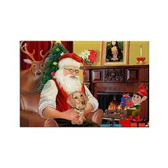 Santa's Dachshund (WH) Rectangle Magnet