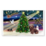 XmasMagic/Dachshund (WH) Sticker (Rectangle 50 pk)