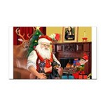 Santa's 2 Dobermans Rectangle Car Magnet