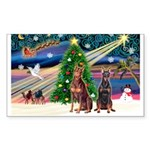 XmasMagic/ 2 Dobies Sticker (Rectangle 10 pk)