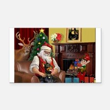 Santa's Dobie (Bz) Rectangle Car Magnet