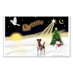 Night Flight/Fox Terrier 5 Sticker (Rectangle)