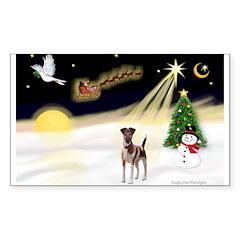 Night Flight/Fox Terrier 5 Sticker (Rectangle)