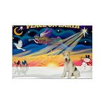 XmasSunrise/Fox Ter #4 Rectangle Magnet (10 pack)