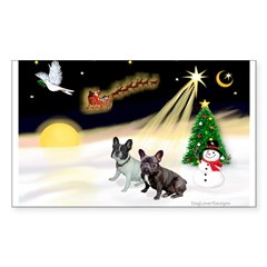 Night Flight/2 Fr Bulldogs Sticker (Rectangle 50 p