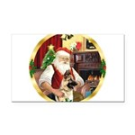 Santa's German Shepherd Rectangle Car Magnet