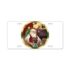 Santa's German Shepherd Aluminum License Plate