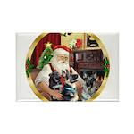 Santa's 2 German Shepherds Rectangle Magnet