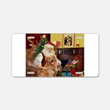Santas Gold Retriever Aluminum License Plate