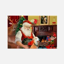 Santa's Greyhound pair Rectangle Magnet (10 pack)