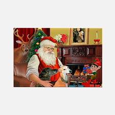 Santa's Greyhound pair Rectangle Magnet