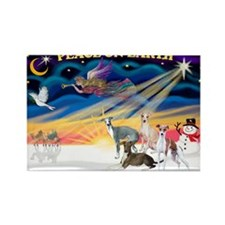 XmasSunrise/4 Ital Greyhounds Rectangle Magnet