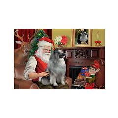 Santa/Keeshond Rectangle Magnet (10 pack)
