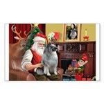 Santa/Keeshond Sticker (Rectangle 10 pk)