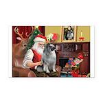 Santa/Keeshond Rectangle Car Magnet