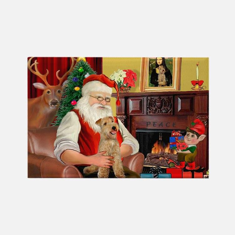 Santa/Lakeland Terrier Rectangle Magnet (10 pack)