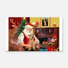 Santa/Lakeland Terrier Rectangle Car Magnet