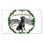 XmasMusic2/Lab (black) Sticker (Rectangle 50 pk)