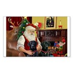 Santa's 2 Black Labs Sticker (Rectangle 10 pk)