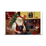 Santa's 2 Black Labs Rectangle Car Magnet