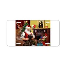 Santa's Chocolate Lab Aluminum License Plate