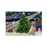 Xmas Magic & Yelow Lab Rectangle Magnet (10 pack)