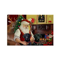 Santa's 2 Black Labs Rectangle Magnet