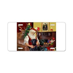 Santa's 2 Black Labs Aluminum License Plate