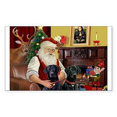 Santa's 2 Black Labs Decal