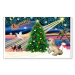 XmasMagic/ Lhasa Apso Sticker (Rectangle 50 pk)