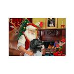 Santa's Newfie (L) Rectangle Magnet (10 pack)