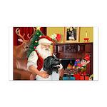 Santa's Newfie (L) Rectangle Car Magnet