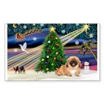 XmasMagic/ Pekingese Sticker (Rectangle 10 pk)