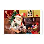 Santa's 2 Pekingese Sticker (Rectangle 50 pk)