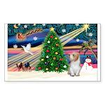 Xmas Magic/PBGV (#3) Sticker (Rectangle 50 pk)