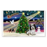 Xmas Magic/PBGV (#1) Sticker (Rectangle)