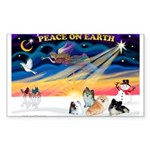 XmasSunrise/4 Poms Sticker (Rectangle 50 pk)