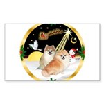 Night Flight/2 Pomeranians Sticker (Rectangle)