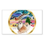 XmasMagic/2 Pomeranians Sticker (Rectangle 50 pk)
