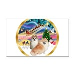XmasMagic/2 Pomeranians Rectangle Car Magnet