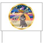 XmasStar/Silver Poodle #8 Yard Sign