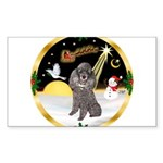 Night Flight/Silver Poodle Sticker (Rectangle 50 p