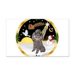Night Flight/Silver Poodle Rectangle Car Magnet