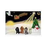 Night Flight/4 Poodles Rectangle Magnet (10 pack)