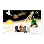 Night Flight/4 Poodles Sticker (Rectangle)