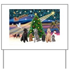 XmasMagic-6 Poodles Yard Sign